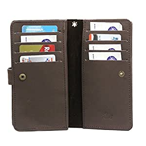 Jo Jo A9 Ezra Leather Carry Case Cover Pouch Wallet Case For Intex Aqua HD Dark Brown