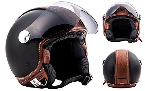 Arrow AV 84Vintage Leather Deluxe-Jet vespa Bobber Scooter Moped Motorcycle Helmet Ece Black-XS S M L XL XXL