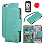 iPhone 6 Case,(4.7),[with 2 FREE HD Screen Protectors],By HiLDA,Wallet Case,PU Leather Case,Credit Card Holder,Flip Cover Skin[PureGreen]