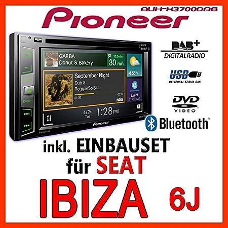Seat ibiza 6J-gris clair-pioneer aVH-x3700DAB 2-dIN pour autoradio multimédia avec bluetooth/dAB, dAB et antenne applications avec kit de montage