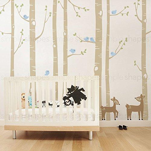 Birch Tree with Bird and Deer Wall Decals - scheme A - 108