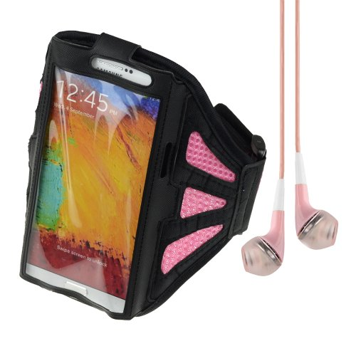 Adjustable Fabric Workout Armband For Samsung Galaxy Note 2 / Note 3 (Black / Pink) + Vangoddy Headphone With Mic ,Pink