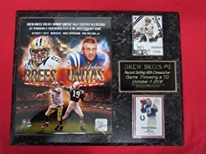 Drew Brees New Orleans Saints 2 Card Collector Plaque w 8x10 photo BREAKS UNITAS TD... by J & C Baseball Clubhouse
