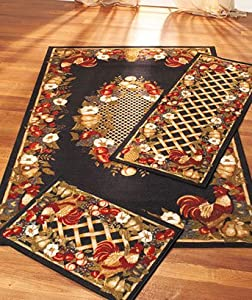 Country Fair Area Rug Accent Rug And Runner 3 Pc Set Rooster Chicken Decor