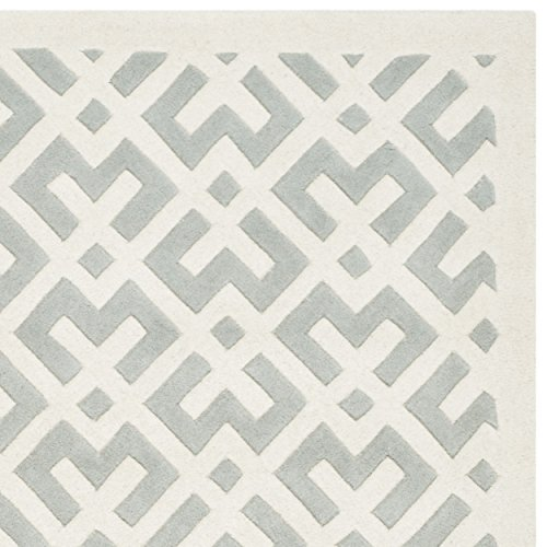 Safavieh Chatham Collection CHT719E Handmade Grey and Ivory Wool Area Rug, 8 feet by 10 feet (8' x 10')
