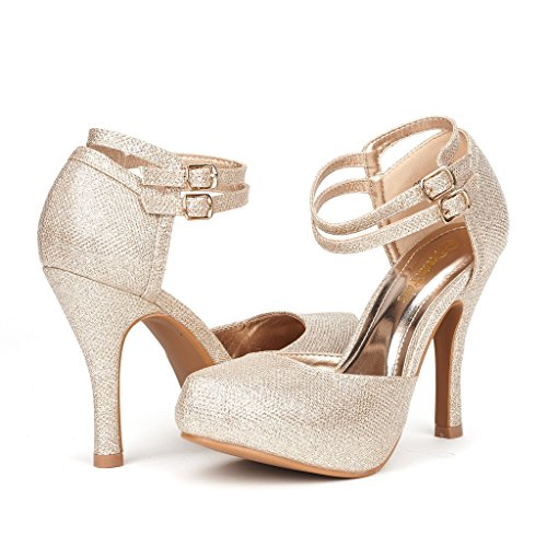 DREAM PAIRS OFFICE-02 Women's Classy Mary Jane Double Ankle Strap Almond Toe High Heel Pumps , OFFICE-02-GOLD, 7 B(M) US