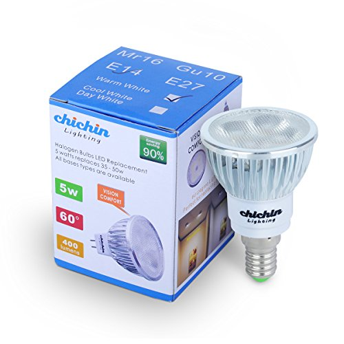 Chichinlighting® 1-Pack Warm White 2850K E14 Par16 5W 5 Watts Led Spotlight Bulb 400Lm Led Reflector Bulb Light 60 Degree Lighting Beam Angle Frosted Style Lense