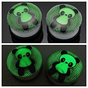 "9/16"" 14mm Panda Bear Animal Acrylic Glow in the Dark GID White Ear Plugs Gauges Single Flare (Sold By Pair)"