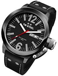Men's Stainless Steel Case Ceo Canteen Quartz Black Dial Leather Strap Day and Date Display