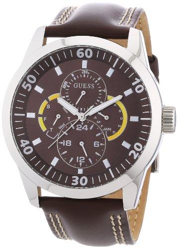 Guess W95046G2 - Reloj analógico de cuarzo para hombre con correa de piel, color marrón