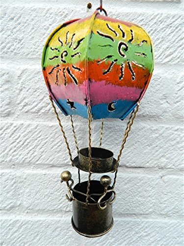 Hot Air Balloon Hanging Metal Tea light T Lite Candle Holder Garden Lantern - Coloured Balloon 25cm Tealight