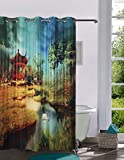 Lushomes Digitally Printed Nature Shower Curtain with 10 Eyelets