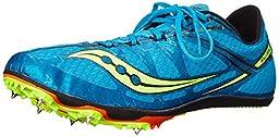 Saucony Men\'s Ballista Track Spike Racing Shoe, Blue/Citron, 8 M US