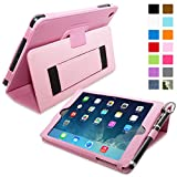 Snugg Candy Pink Leather iPad Mini & Mini 2 Retina Case with Lifetime Guarantee - Flip Stand Cover with Auto Wake/Sleep, Elastic Hand Strap & Protective Premium Nubuck Fibre Interior for the Apple iPad Mini & Mini Retina