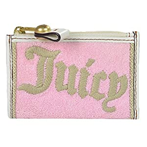 Juicy Couture Terry Mini Skinny Coin Case Bag w Key Chain Keyfob Pink