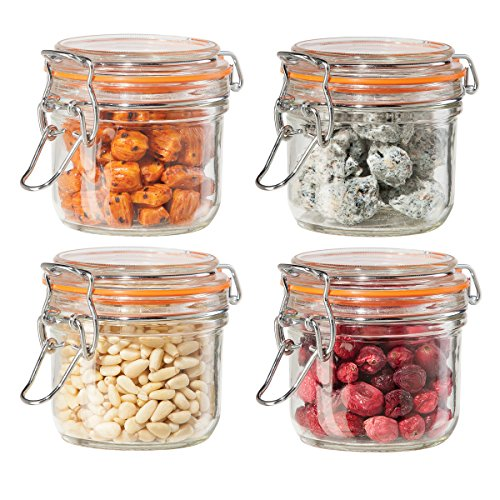 Oggi 4 Piece Airtight Glass Canister Set with Clamp Lids and Silicone Gaskets (Glass Clamp Lid compare prices)