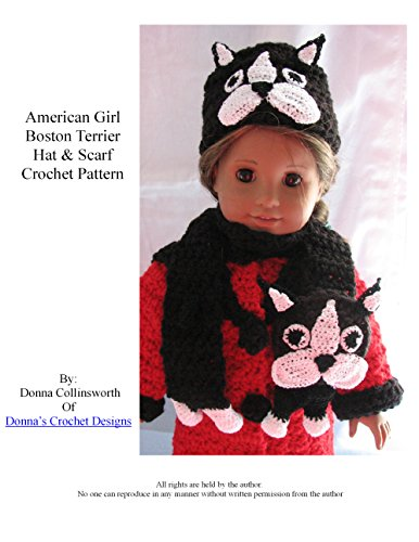 American Girl Doll Boston Terrier Hat and Scarf Crochet Pattern