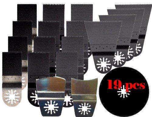 Mtp Pack Of 19 Pcs Bi-Metal Japan Fine Wood Metal Oscillating Multi Tool Blade For Fein Multimaster Bosch Multi-X Craftsman Nextec Dremel Multi-Max Ridgid Dremel Chicago Blades Mm20 Craftsman Nectec Jobmax Milwaukee Makita (Concave And Convex)