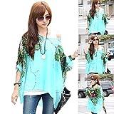Malloom® Bohême Floral Batwing en mousseline de soie lâche T-shirt de chemise de dessus (L)...