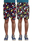 American-Elm Men's Multi Color Printed Shorts-Combo Of 2 (Small)