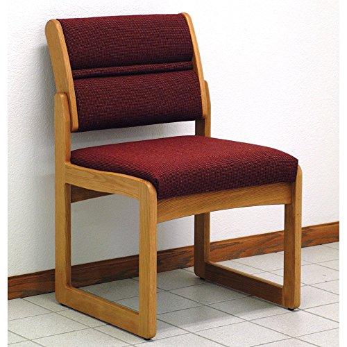 Wooden Mallet Sled-Base Valley Armless Guest Chair, Medium Oak, Cabernet Burgundy
