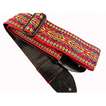 Red Retro Vintage Hippie Acoustic Electric Guitar Strap Faux Leather Ends 60's