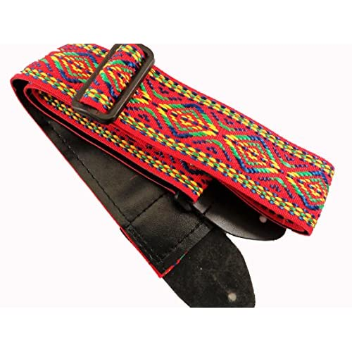 Red Retro Vintage Hippie Acoustic Electric Guitar Strap Faux Leather Ends 60's