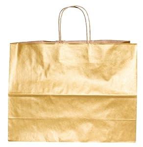 Premier Packaging AMZ-230341 12 Count Metallic Kraft Shopping Bag, 16 by 12.5-Inch, Gold