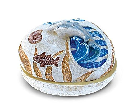 Puzzled Nautical Stone Trinket Box, Dolphin