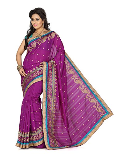 Cbazaar Maroon Embroidered Bhagalpuri Silk Saree