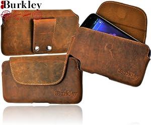 Burkley VINTAGE-G8-i9500 Vintage Antik Slim Line Leder Gürteltasche für Samsung Galaxy S4 i9500 Stone Washed rost braun