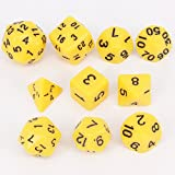 lzwin 10piezas Opaco Polyhedral dados con bolsa de portátil para juego de mesa