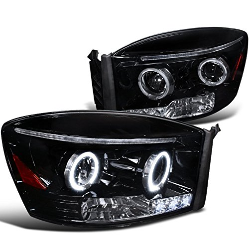 Spec-D Tuning 2LHP-RAM06G-TM Dodge Ram 1500 2500 Smoked Lens Glossy Black Halo Projector Head Lights (Dodge Ram 1500 Smoked Headlights compare prices)