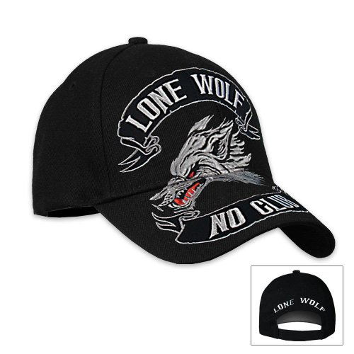 Hot Leathers Lone Wolf Ball Cap (Black)