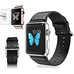 Apple Watch iWatch 42mm Band, G-CASE High Quantity Genuine Leather iWatch Band Strap Classic Metal Buckle Retail BOX for Apple Watch iWatch 42mm + Tempered Glass Screen Protector (42MM Black)