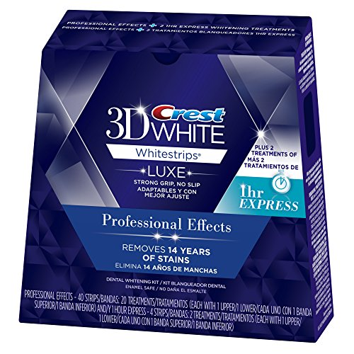 Crest 3D White Luxe Whitestrips Professional Effects 20 Treatments + 3D White Whitestrips 1 Hour Express 2 Treatments Teeth Whitening Kit