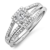 0.45 Carat (ctw) 14k White Gold Princess & Round Diamond Ladies Square Split Shank Halo Bridal Engagement Ring Set 1/2 CT (Size 7.5)