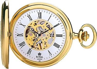 Royal London Pocket Watch 90047-02 Gold Plated Half Hunter
