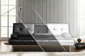 Sofa DUBAI Schlafsofa Klappsofa Kunstleder Couch Schlafcouch Klappcouch Garnitur (Anthrazit)