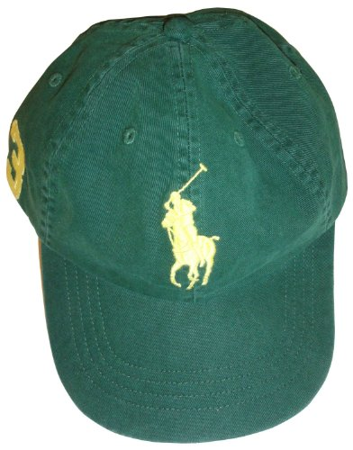Men's Polo by Ralph Lauren Polo Hat Ball Cap Hunter Green with Big Yellow Pony