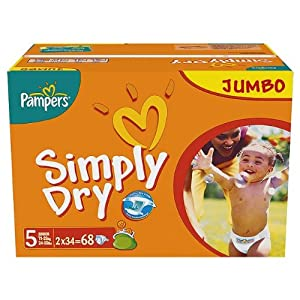 Pampers Simply Dry Size 5 (11-25kg) Jumbo Pack68 per pack