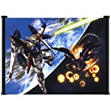 """Mobile Suit Gundam Wing Anime Wing Zero vs Epyon Battle Fabric Wall Scroll Poster (42""""x31"""") Inches"""