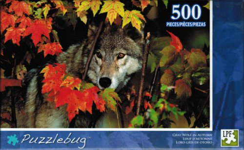 """Puzzlebug """"Gray Wolf in Autumn"""" 500 Piece Jigsaw Puzzle"""