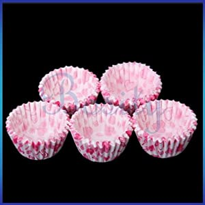 75 Mini Heart Print Cake Chocolate Paper Cases Cupcake Liners Baking Cups Wraps