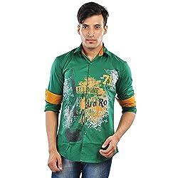 CREEDS Men's Green Cotton Casual Shirt(Medium)