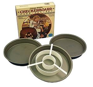 """Chicago Metallic Checker Board Cake Pan (21206) Set of 3-9"""" Round Pan"""