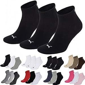 Puma Sports Socks - Unisex Quarter Quarters 3P - Three Pair Packs Of Plain/Mix UK Sizes 2.5 up to 14 (Black, UK SIZE 2.5-5)