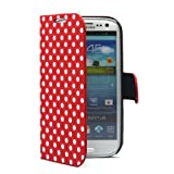 PhoneAdventures Flip Polka Dots Leather Case with Stand for AT&T, Verizon, Sprint,T-mobile Samsung Galaxy S3 - Red