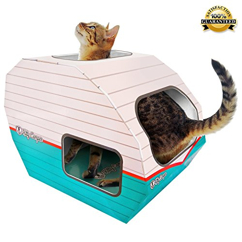 *FLASH SALE* Cardboard Cat Houses For Indoor & Outdoor Cats -The Kitty Camper Is The Perfect Play House, Cave, Igloo, Condo or Pet Bed - Just Add Toys a Blanket & Feel Good About Leaving Your Kitten & Pets at Home- FREE EBook - Money Guarantee -RETRO