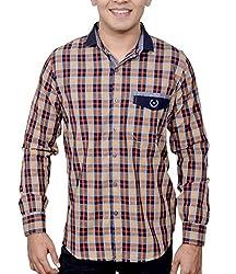 Ivory Men's Casual Cotton Shirt (2937-Rust-M)